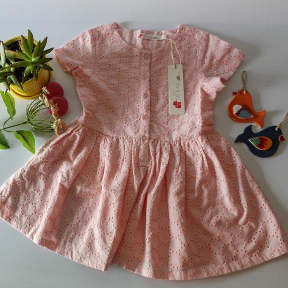 c4092a1a SALE! Peach Schiffli Dress for GIRLS; Cotton Boutique
